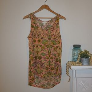 H&M Floral Print Tank Coral Green